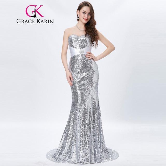 Grace Karin Gold Evening Dresses Luxury Long Silver Formal Evening ...