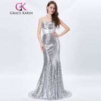 Grace Karin Gold Evening Dresses Luxury Long Silver Formal Evening Gowns Sequin Wedding Party Floor Length