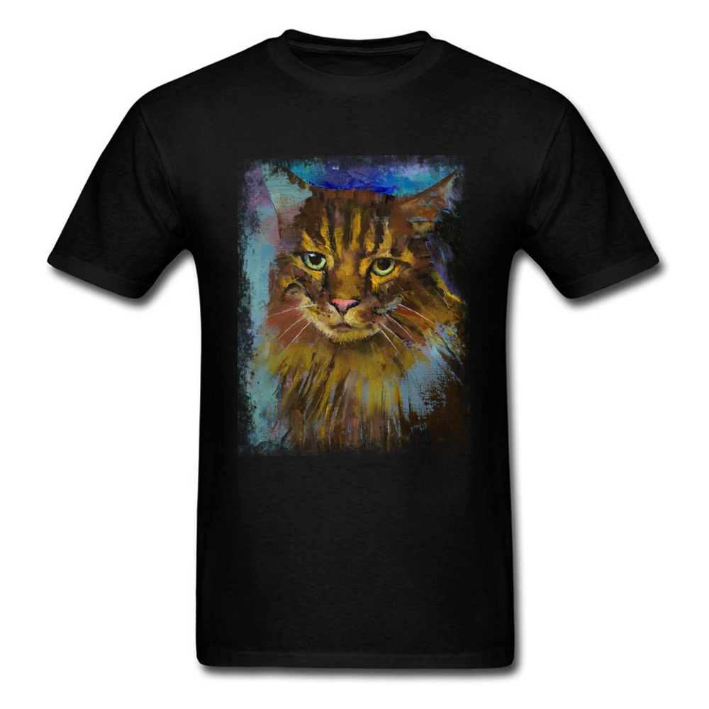 Normal LUNA Cat Tops Tees for Men 2018 T-Shirt Discount NEW YEAR DAY O-Neck 100% Cotton Fashionable T-shirts Short Sleeve