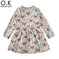 Toddler Girls Dresses Long Sleeve Cartoon Baby Girls Dress Clothes Spring Autumn Christmas 2017 New Cute Animal Kids Clothing