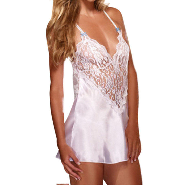 dd76db71f7f Plus Size Womens Silk Nightgowns Sexy Lingerie Sleepwear Lace Babydoll  Nightdress Nightdress Camisola De Dormir Feminino Nighty