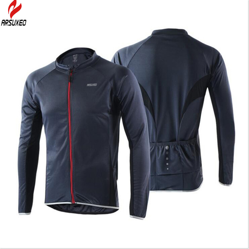 reputable site 1a40d 822a5 US $17.32 45% OFF|ARSUXEO Men and Women Cycling Windcoat Bike Clothing  Running Jacket Windproof Fast drying Long Sleeves Cycling Jersey-in Cycling  ...