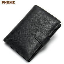 PNDME high quality simple short genuine leather black mens wallet casual lychee cowhide credit cards coin hasp purses