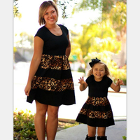 Fashion Spring Summer Leopard Print Mom and Daughter Dress Baby Girl And Mother Clothes Summer Family Clothes Splicing Dress