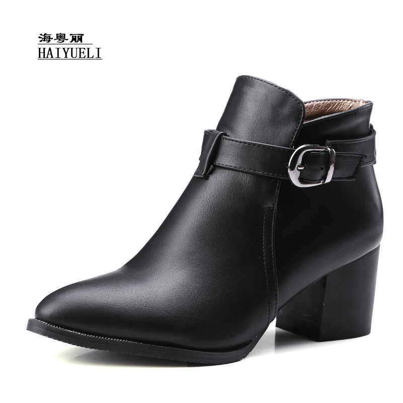 Autumn Winter Boots Fashion Sexy Thick Heel Martin Boots Ankle Boots High-heeled Pointed Shoes