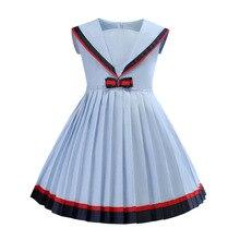 Bongawan/платья для девочек Biue/хлопковые летние Детские платья для девочек от 3 до 8 лет, повседневный стиль, бант, круглый вырез, Бальное пуховое платье