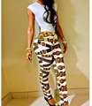 2015 Verão Novas Mulheres Two Piece Outfits Keyshia Bodycon Bodysuit Retro Impresso Jumpsuit Calças Compridas Sexy Clube Macacão Desgaste