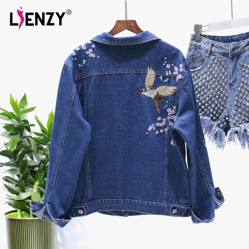 Lienzy autumn denim jacket back bird flower embroidered