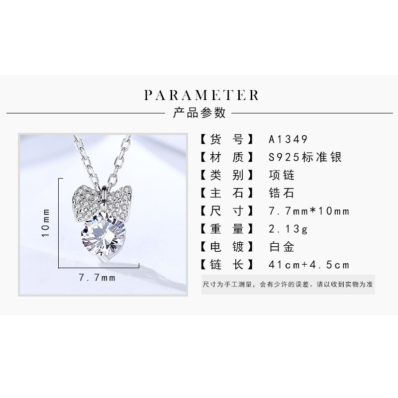 Fine Jewelry Genuine 925 Sterling silver cute bow link clear round zircon stone pendant necklace for women bijoux femme