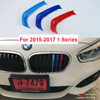 3D M Styling Front Grille Trim Sport Strips Cover Stickers For 2015 2017 BMW 1 Series