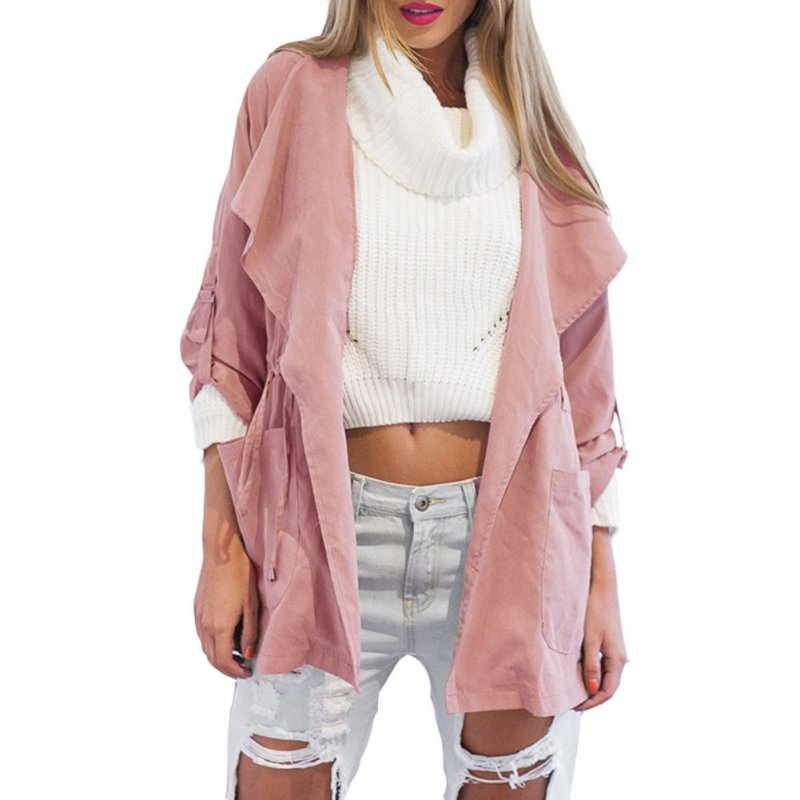 Fashion Women Solid Coat Jacket Casual Hooded Windbreaker Parka Outwear  Cardigan 6321502c07472