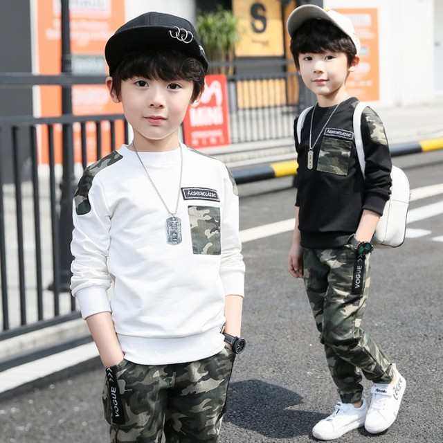 4d29888f672 Boys Camouflage Tracksuits 2018 Spring Children White Black Long Sleeve  Jacket + Pants Outfit Kids Clothing Sets Age 5-13 T