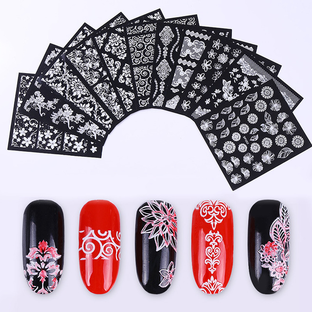 1pc white lace 3d nail stickers flower arabesque leaf ultra thin 1pc white lace 3d nail stickers flower arabesque leaf ultra thin nail art decals nail prinsesfo Choice Image