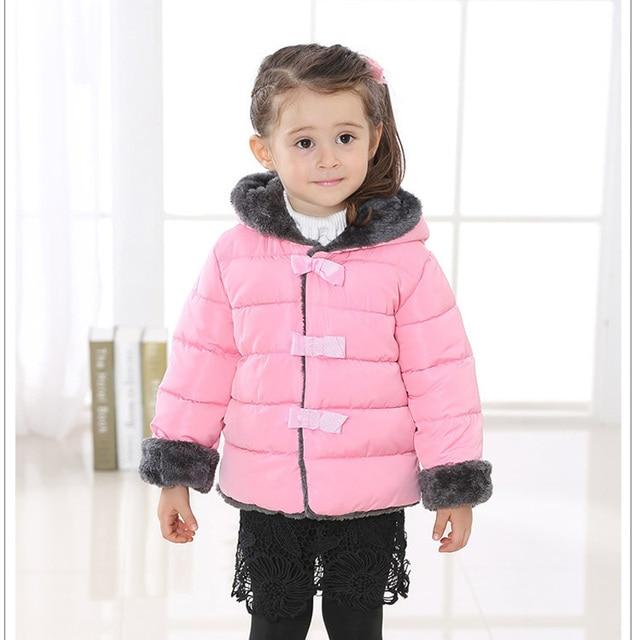 Новые девушки снег одежда детская зимние пальто новорожденных девочек с капюшоном куртки вниз и ветровки дети хлопок проложенный
