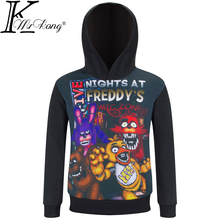 Five Nights At Freddys Long Sleeve T Shirt Kids Boys Girls Autumn Hooded T-shirt Fnaf Clothing Children's Outerwear Baby Tshirt