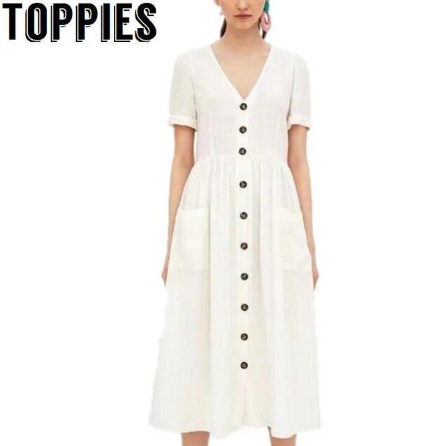 1ddfc6c81ad8 Toppies Women 2018 V-neck Buttons Beige Dress Cotton And Linen Dress Short  Sleeves Women Vintage Dresses