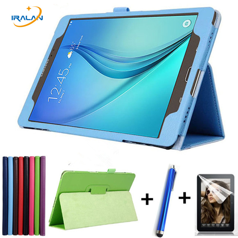 Luxury PU Leather Litchi Stand Case For Samsung Galaxy Tab A 9.7 T550 SM-T550 SM-T551 SM-T555 2 Folding Flip Cover+film+stylus 360 degree rotating pu leather case stand for galaxy tab a 9 7 t550