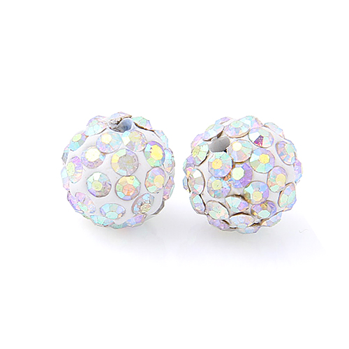 20Pcs Disco Ball Beads Clay Crystal Champagne Bracelet Bead Jewelry Making Charm