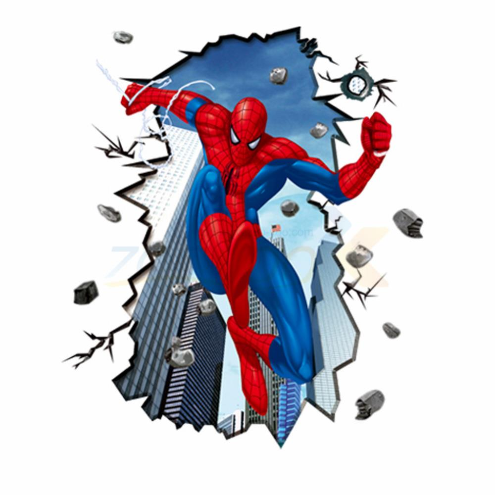 Movie character spider man wall stickers for kids rooms ZooYoo8003 decorative home decoration removable pvc wall decal &