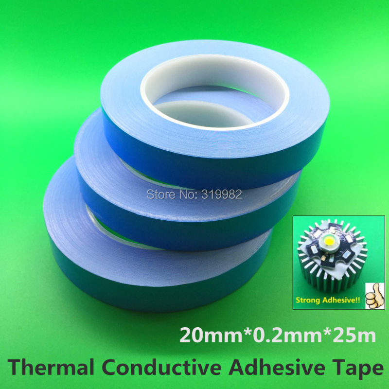 Transfer Double Side Thermal Conductive Adhesive Tape for High Power LED Module PCB Heatsink CPU Heat Conduct instead RTV 48pcs x 25 25mm square thermal adhesive tape for heatsink heat sink high thermal conductive