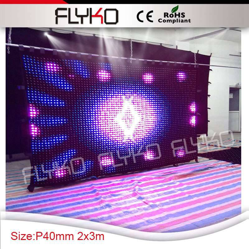 Pixel40mm best resolution display function small normal size 2x3m led lighting stage cloth decoration curtain