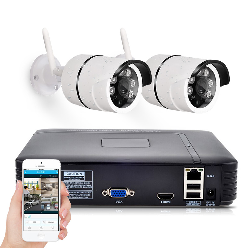 4CH Wireless NVR Kit 720P FHD Outdoor IP Video Security Camera System Waterproof IR Night Vision IP66 WIFI Surveillance System hbss 4ch 1 0m hd 2tb hdd poe ip66 waterproof motion detection 1280 720p ir night vision outdoor mult lang surveillance system