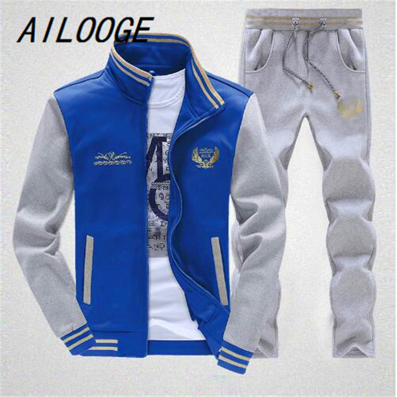 AILOOGE Zipper Jacket+Pant Polo Set 2017 Casual Men Sporting Suit Hoodie Mens Tracksuit Sweatshirt Male Two Pieces Set