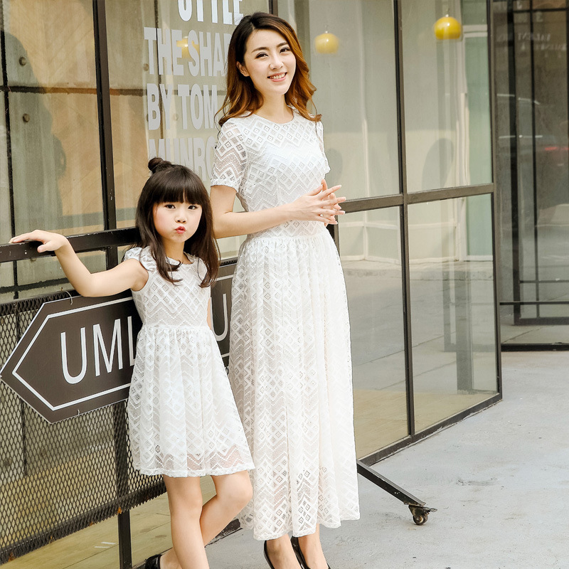 2017 summer mother daughter dresses white pink lace dress