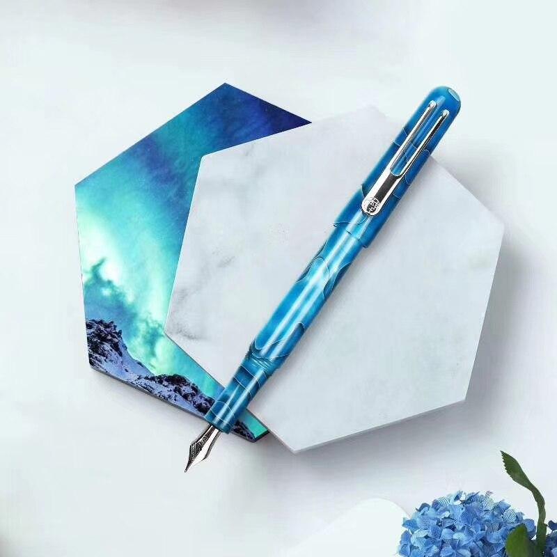 New Picasso Celluloid Fountain Pen Pimio EtSandy Aurora Sky Blue PS-975 Iridium Fine Nib Writing Gift Pen for Business Office