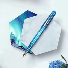 цена на New Picasso Celluloid Fountain Pen Pimio EtSandy Aurora Sky Blue PS-975 Iridium Fine Nib Writing Gift Pen for Business Office