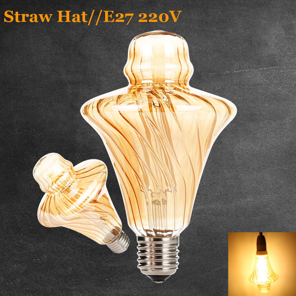 Dimmable Vintage Flexible Gild Glass LED Filament Bulb Straw Hat Spiral Lamp 2200K 4W LED Bulb 40W Equivalent Edison Bulbs Lamps free shipping globle g125 amber glass led 4w spiral filament lamp for vintage edison fixture e27 220v lighting bulb