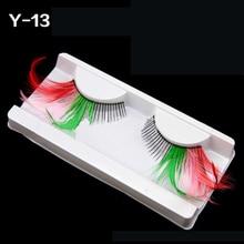 1 Pair Makeup Cilia False Eyelashes Colorful Feather Masquerade Handmade Gorgeous Beauty Eye Lashes Extension Tools недорого