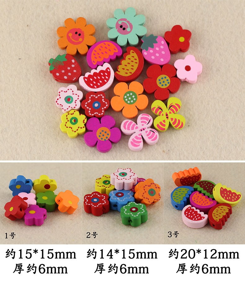 100pcs Free Shipping Mixcolor Wooden Beads Flower Cute Animal Heart Shape DIY Beads for Jewelry Bracelet Necklace Wooden Beads