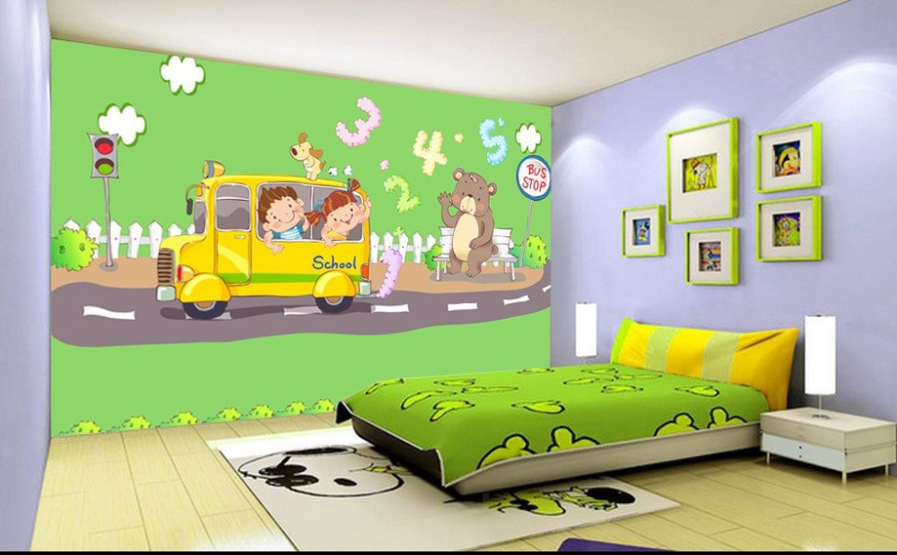 background bedroom painting 3d digital bus bear mural highway non custom wallpapers zoom woven
