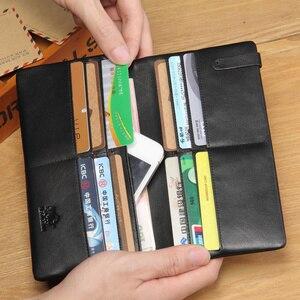 Image 4 - Bison denim bolsa masculina de couro genuíno carteira longa fino preto embreagem masculino carteiras id titular do cartão fino bolsa N4329 1