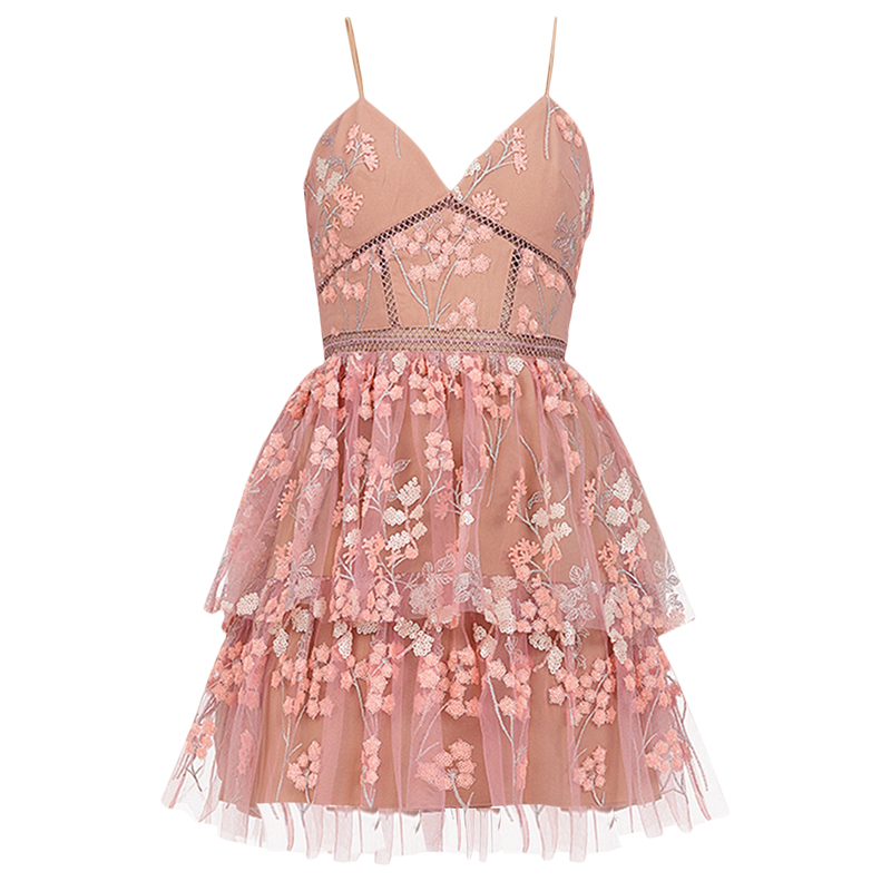 2019 New arrive Pink Floral embellished dress-in Dresses from Women's Clothing    1