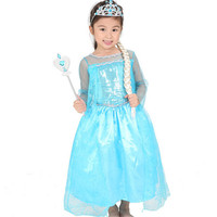2015 Summer Style Girl Dress Princess Elsa Dress Children Halloween Snow Queen Cosplay Costume Baby Toddler