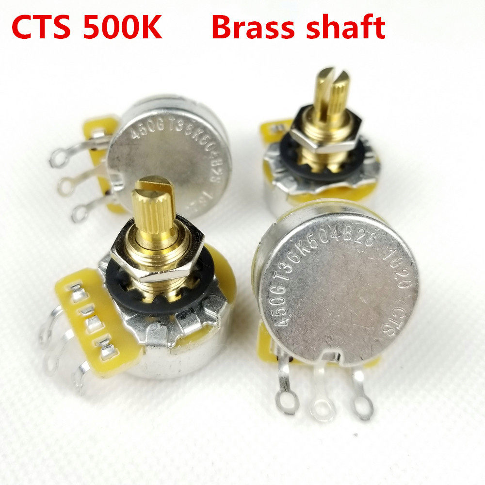 2pcs CTS 450 Series A500K Electric Guitar Bass Potentiometers Pots Audio  Taper Volume Tone Control Aluminum Split Shaft