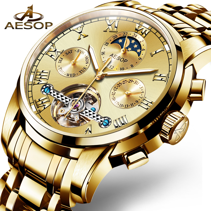AESOP Mens Watches Top Brand Luxury Automatic Mechanical Watch Men Stainless Steel Sapphire Calendar Gold Relogio Masculino 2018 tevise men black stainless steel automatic mechanical watch luminous analog mens skeleton watches top brand luxury 9008g