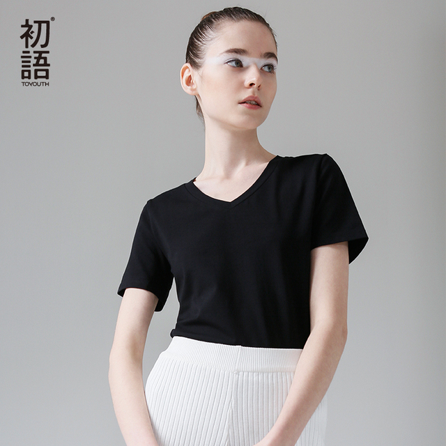 Toyouth All-Match Solid Summer T-Shirts Causal V-Neck Short Sleeve Female T-shirt Soft Cotton Basic T Shirt Women Tops 2018