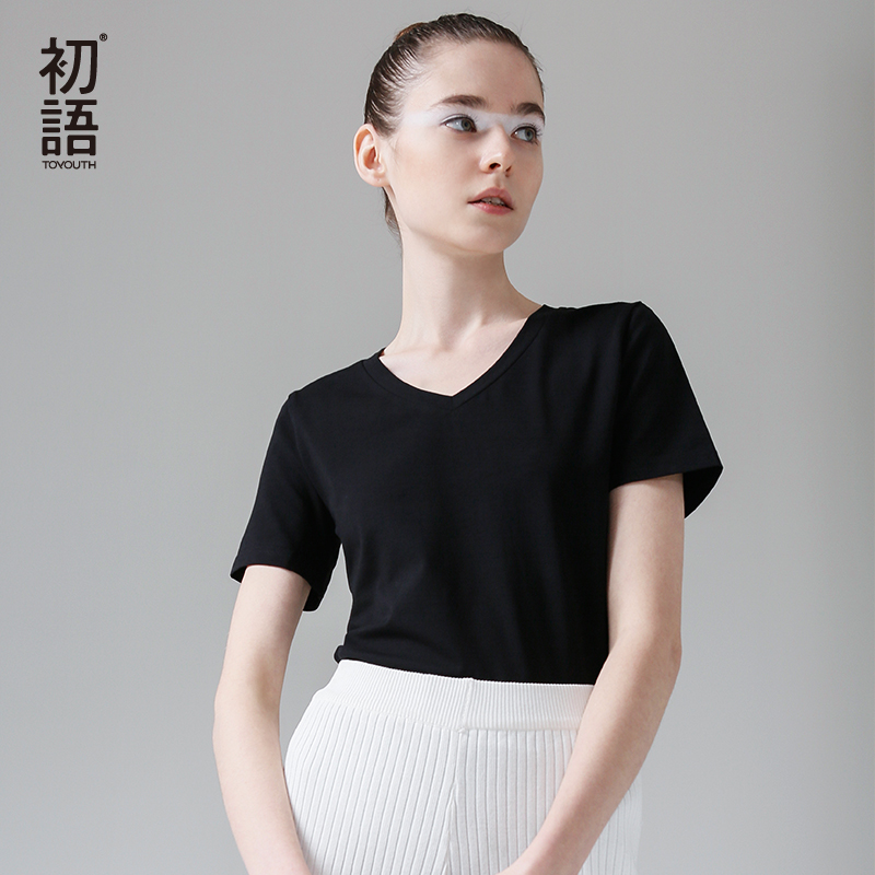 Toyouth All-Match Solid Summer   T  -  Shirts   Causal V-Neck Short Sleeve Female   T  -  shirt   Soft Cotton Basic   T     Shirt   Women Tops 2018
