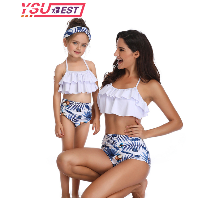 a15162138d5e9 2019 New Mother Daughter Swimsuit Mom and Daughter Bathing Suit Swimwear  Family Matching Clothes Family Look