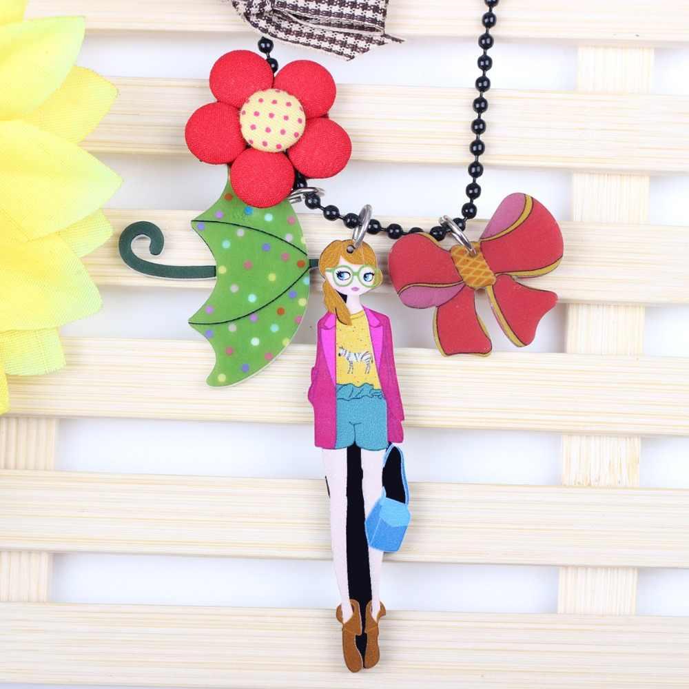 Bonsny Uzun Zincir El Yapımı Kız Çiçek Şemsiye Yay Rozet Kolye Kolye Marka Tasarım moda takı Kadınlar Için