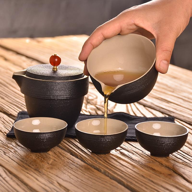 TANGPIN black japanese ceramic teapot kettle gaiwan tea cups portable travel office tea set in Teaware Sets from Home Garden