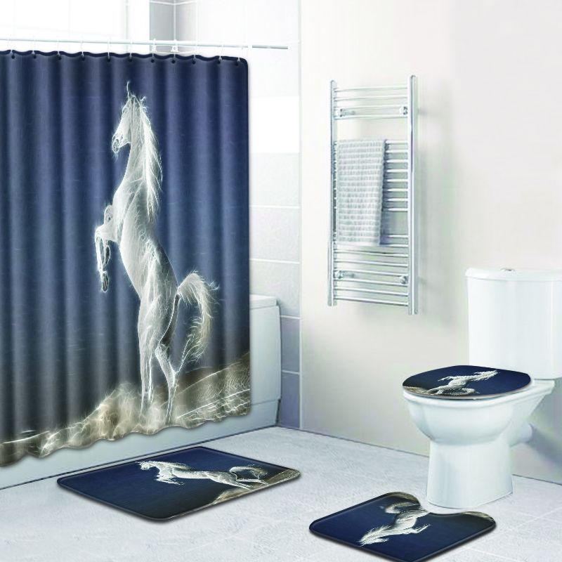 The Pentium Horse Christmas Bathroom Shower Curtain And Bath Mat Sets 3D Toilet Accessories Black White Carpet Foot Pads In Mats From Home