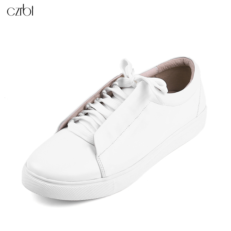 CZRBT Classic Flat Shoes Fashion Sweethearts Platform Shoes Genuine Leather Flats White Round Toe Lace-Up Casual Women Shoes 2017 new women shoes genuine leather casual shoes flats breathable lace up soft fashion brand shoes comfortable round toe white