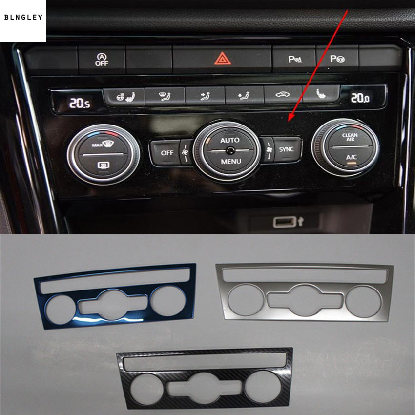 1pc Car stickers Stainless steel air conditioning control adjustment panel decoration cover for 2018 2019 Volkswagen VW T-ROC