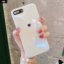 Cyato For iphone X 7 7Plus 8 8plus Blue ray Laser Love Heart Soft silicon Mirror case for 6 6s 6plus back cover