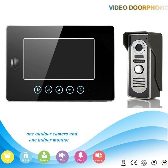 7 inch TFT LCD one to one HD camera view video doorphone wired colorful building  monitor intercom