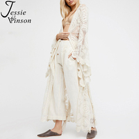 Jessie Vinson Fashion Women Plus Size Long Sleeve Perspective Lace Long Cardigan Kimono Beach Swimsuit Cover up White Overall